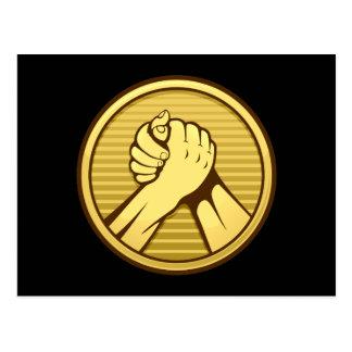 Arm wrestling Gold Postcard