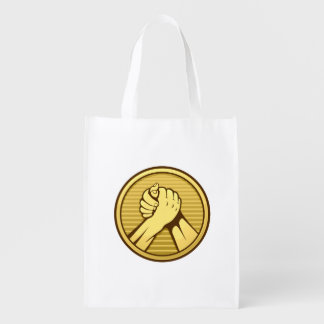 Arm wrestling Gold Reusable Grocery Bag