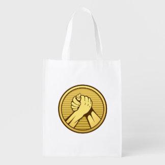 Arm wrestling Gold Reusable Grocery Bag