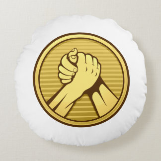 Arm wrestling Gold Round Pillow