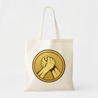 Arm wrestling Gold Tote Bag