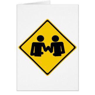 Arm Wrestling Road Sign Card