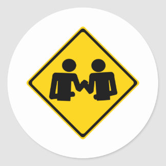 Arm Wrestling Road Sign Classic Round Sticker