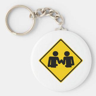 Arm Wrestling Road Sign Keychain