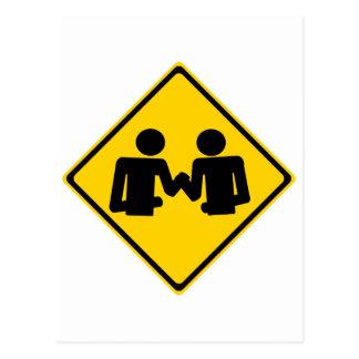 Arm Wrestling Road Sign Postcard