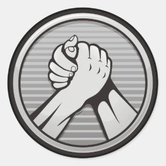 Arm wrestling Silver Classic Round Sticker
