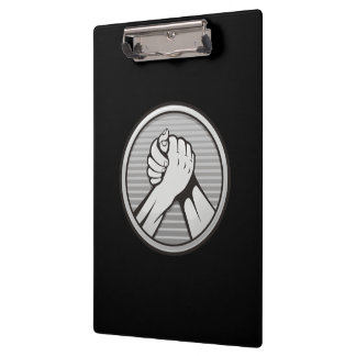 Arm wrestling Silver Clipboard