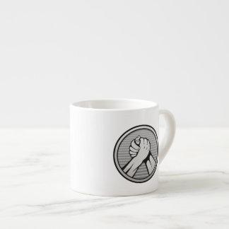 Arm wrestling Silver Espresso Cup