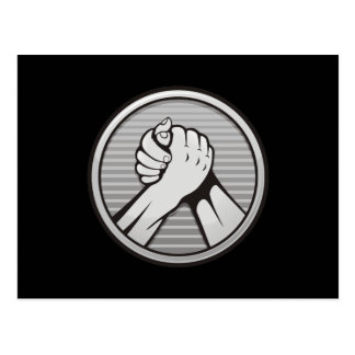 Arm wrestling Silver Postcard