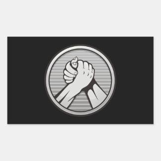Arm wrestling Silver Rectangular Sticker