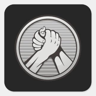 Arm wrestling Silver Square Sticker