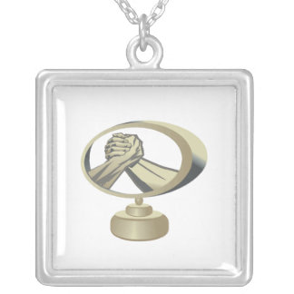 Arm Wrestling Trophy Silver Plated Necklace