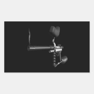 Arma 4 de Paintball Pegatina Rectangular