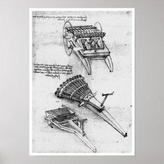 Arma con el arsenal de los barriles Leonardo da V Poster