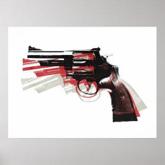 Arma de la pistola del revólver en blanco póster
