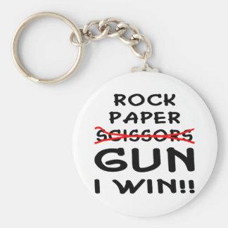 Arma de papel de las tijeras de la roca que gano llavero redondo tipo pin