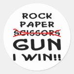 Arma de papel de las tijeras de la roca que gano pegatinas redondas