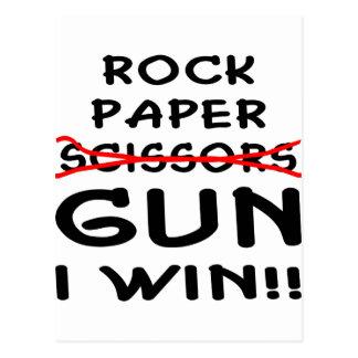 Arma de papel de las tijeras de la roca que gano postal