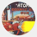 arma de rayo atómico del hombre del espacio etiquetas redondas