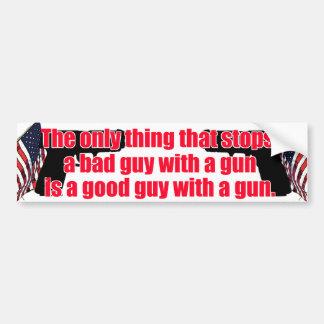 Arma del buen chico etiqueta de parachoque