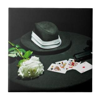 Arma del gángster del póker subió azulejo cuadrado pequeño