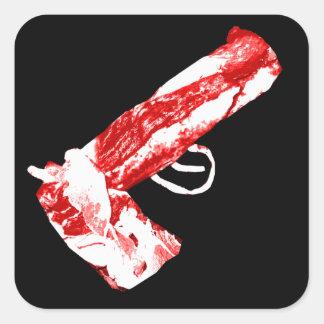 Arma del tocino pegatina cuadrada