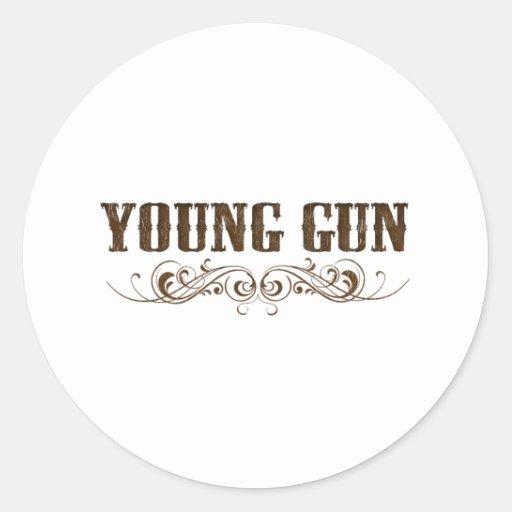 arma joven pegatina redonda