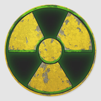 Arma nuclear amarilla etiquetas redondas