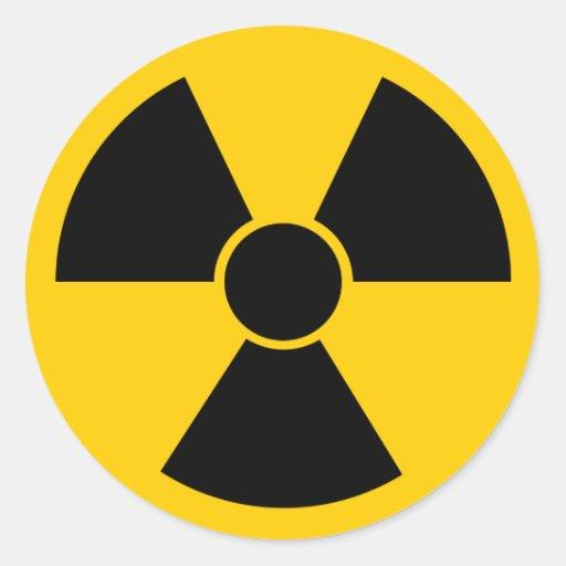 Arma nuclear negra pegatina redonda
