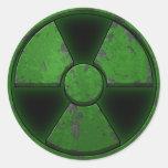 Arma nuclear verde pegatina redonda