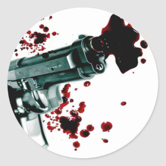Arma sangriento II Pegatina Redonda