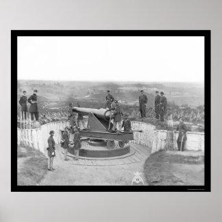 Arma y oficiales enormes de la artillería en Washi Póster