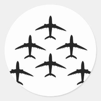 armada del aeroplano pegatina redonda
