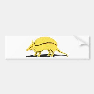 Armadillo amarillo/de oro con la raya negra en pegatina para auto