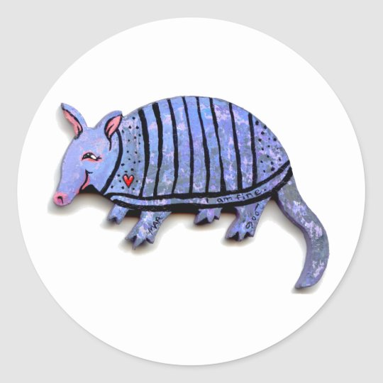 Armadillo art fun cute happy unique armadillos classic round sticker