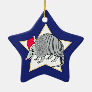 Armadillo Blue Santa Star Ceramic Ornament