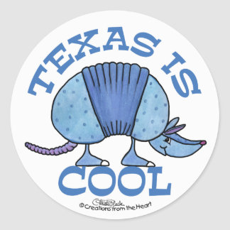 Armadillo Blue-Texas is Cool Classic Round Sticker