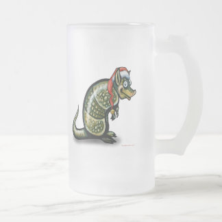 Armadillo Christmas Frosted Glass Beer Mug