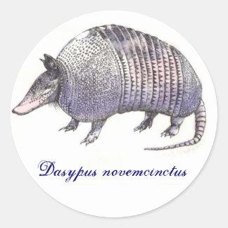 Armadillo, Dasypus novemcinctus Classic Round Sticker