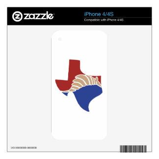 Armadillo de Tejas - diseño del estado de TX Calcomanía Para El iPhone 4