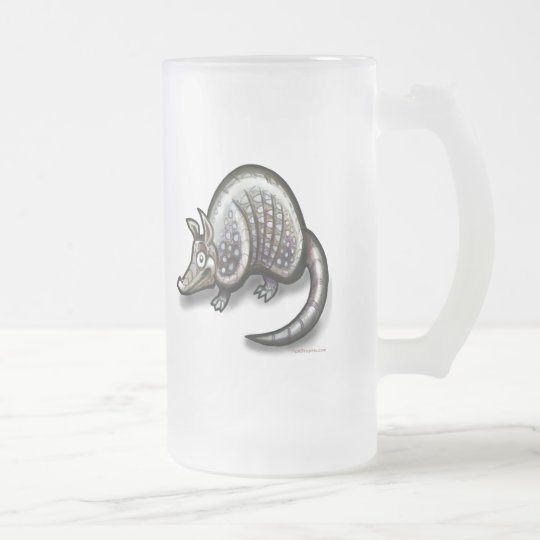 Armadillo Frosted Glass Beer Mug