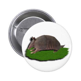 Armadillo grass pinback button