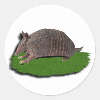 Armadillo grass classic round sticker