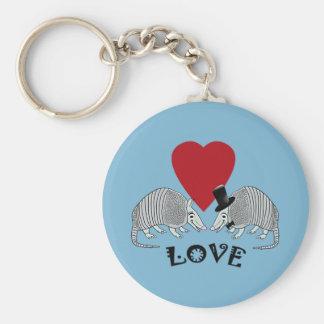 Armadillo Heart Love Blue Key Chain