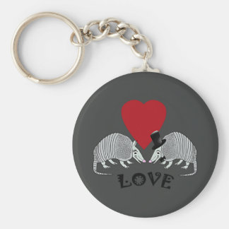 Armadillo Heart Love Charcoal Gray Keychain