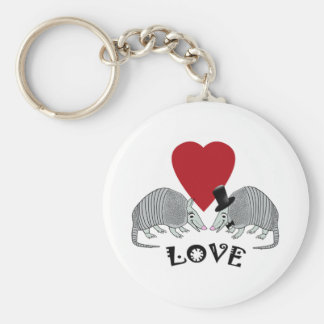 Armadillo Heart Love Key Chains