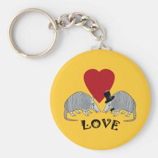 Armadillo Heart Love Vintage Yellow Keychain