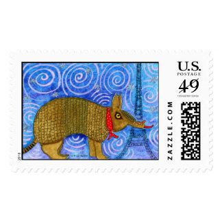 Armadillo in Paris Postage Stamp