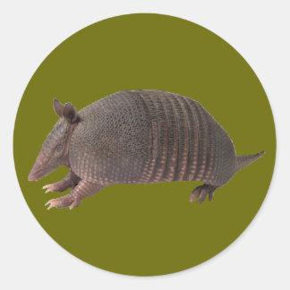 Armadillo plain classic round sticker