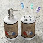 Armadillo rojo, blanco y azul accesorios de baño